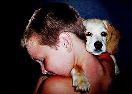 boy and a pup.