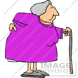 15024-old-woman-with-a-sore-back-using-a-cane-clipart-by-djart