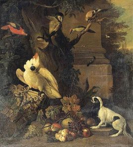 538px-Tobias_Stranover_-_A_Monkey,_a_Dog_and_Various_Birds_in_a_Landscape_-_WGA21874