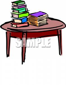 A_Round_Wooden_Table_With_Books_Piled_On_It_Royalty_Free_Clipart_Picture_091011-152844-295042