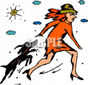Dog_Chasing_a_Woman_Royalty_Free_Clipart_Picture_100206-001101-591053