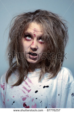 stock-photo--girl-in-an-image-of-the-madwoman-of-the-zombie-for-a-holiday-halloween-87776257
